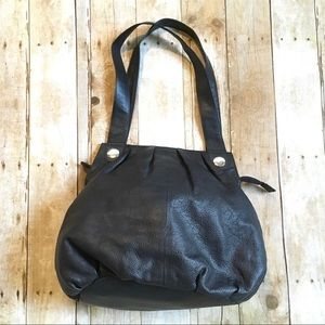 NWOT black pebbled leather shoulder hobo bag